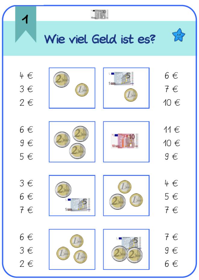 Arbeitsblatt Mathe Rechnen Mit Geld : Frau locke klammerkarten zu geld klasse