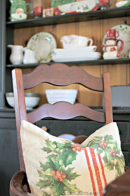 Pottery Barn pillow with french stripe and wreath and Christmas Farm house style hutch-www.goldenboysandme.com