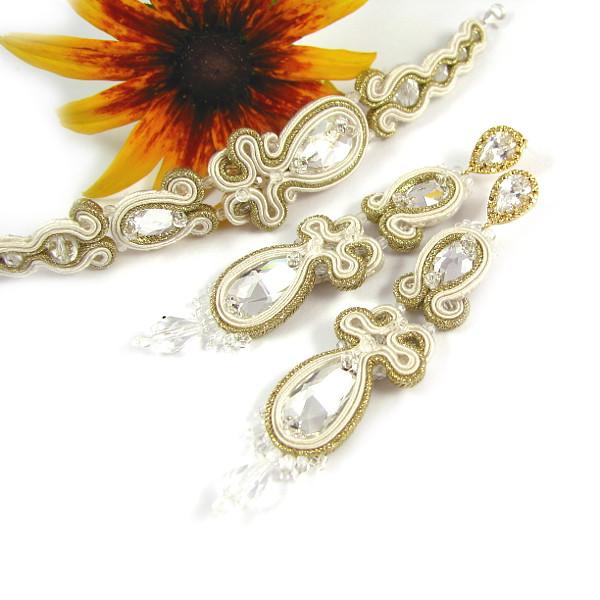 Sutaszowy komplet biżuterii ślubnej