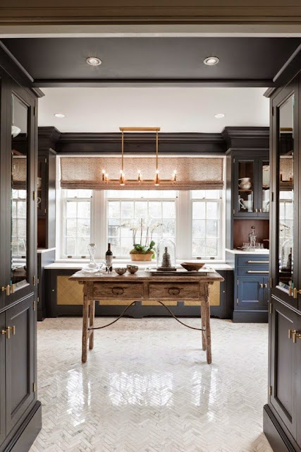 unique dark gray kitchen cabinets white floor table gold lighting accents