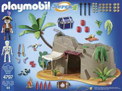 TOYS : JUGUETES - PLAYMOBIL Super 4 4797 Cueva Pirata | Pirate Cave Producto oficial Serie Television 2015 | Piezas: 94 | Edad: +5 años  Comprar en Amazon España & buy Amazon USA