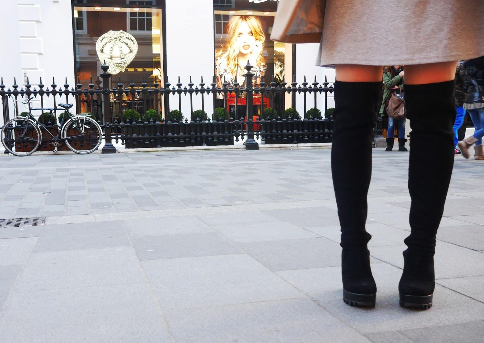 Love Clothing Over Knee Black Suede Boots