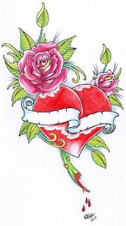 flower heart tattoos