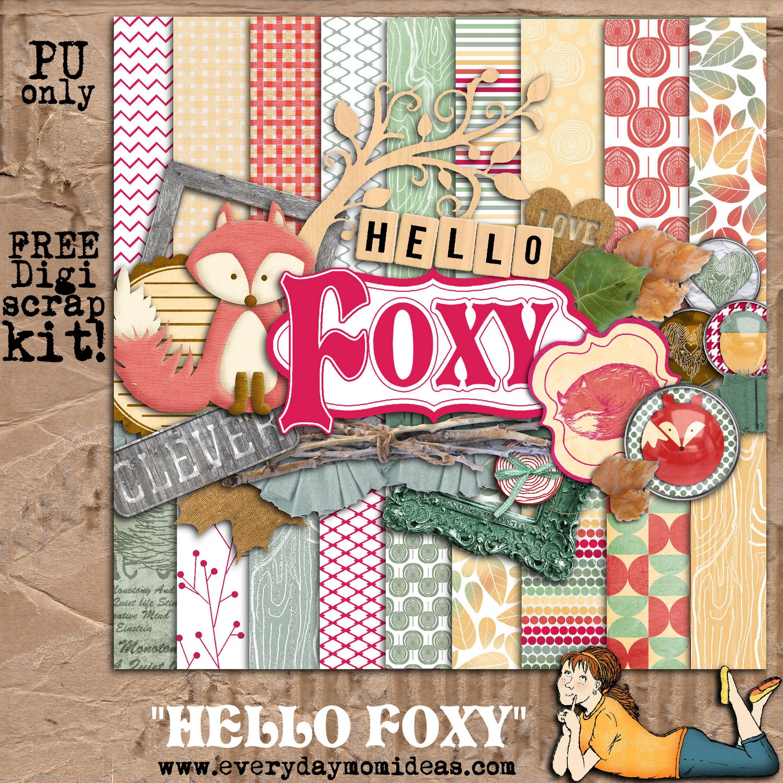 Digital scrapbooking kits free all about scrapbooking ideas - Hello Foxy Free Digital Scrapbooking Kit Everyday Mom Ideas Hello Foxy Free Digital Scrapbooking Kit Salsuba
