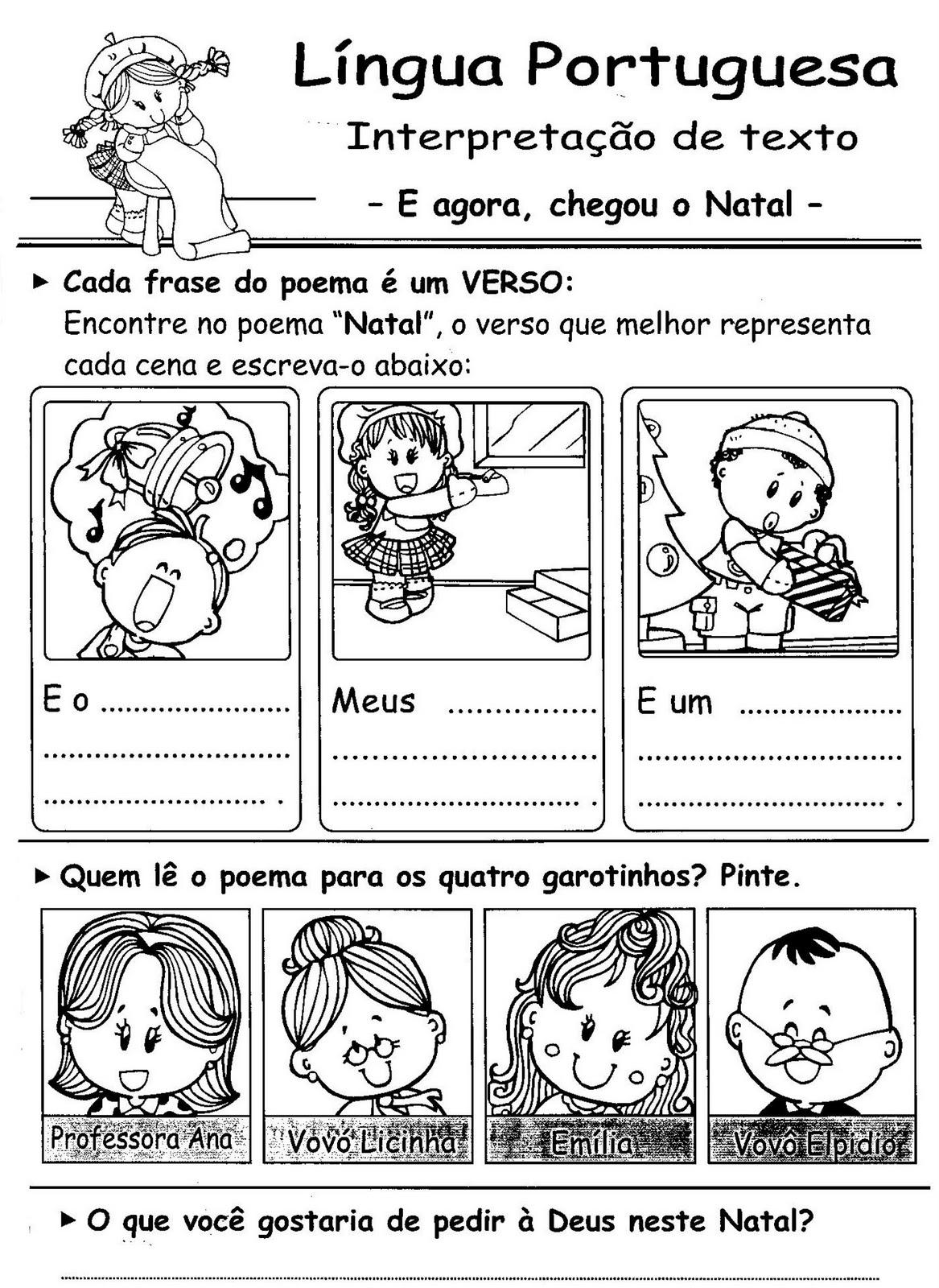 Produ    O De Texto   Interpreta    O De Texto   Natal   Desenhos