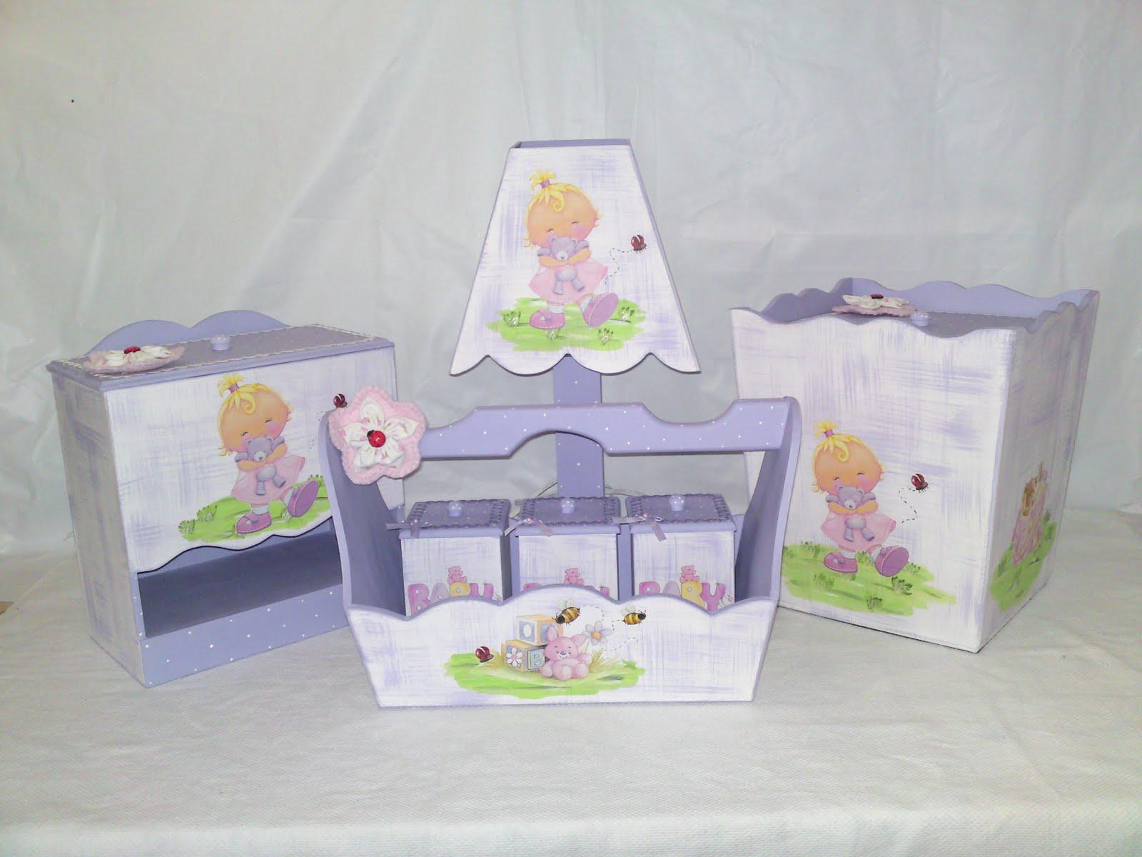 Meninas Usemann Artesanatos: Kit higiene branco pátina lilás  #748249 1600 1200