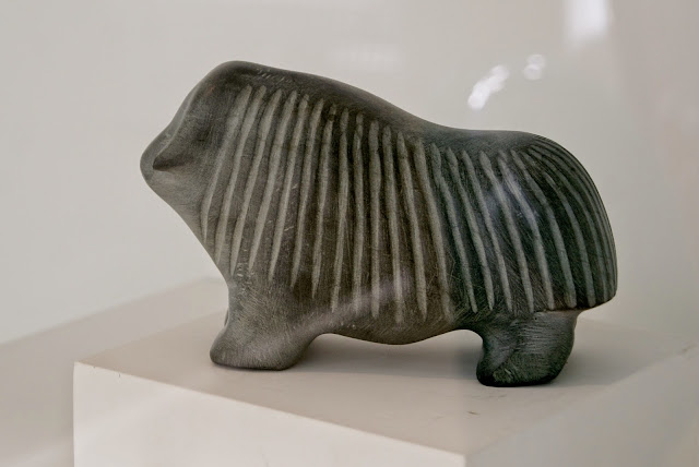Barnabus Arnasungaaq, from Boldly Baker Lake Exhibit at Museum of Inuit Art in Toronto, culture, art, artmatters, north, native, ontario, canada, canadian, artists, the purple scarf, melanieps, stone, sculpture, muskox