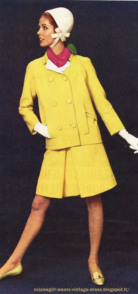 1966 yellow skirt suit Jean Patou 60s 1960