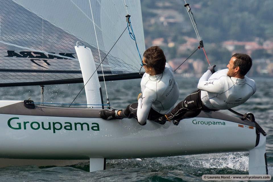 Franck Cammas et Sophie de Turckheim en route pour la Medal Race à Miami.