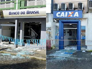 Agências da Caixa Econômica Federal e Banco do Brasil foram explodidas (Foto: Edgard Abbehusen)