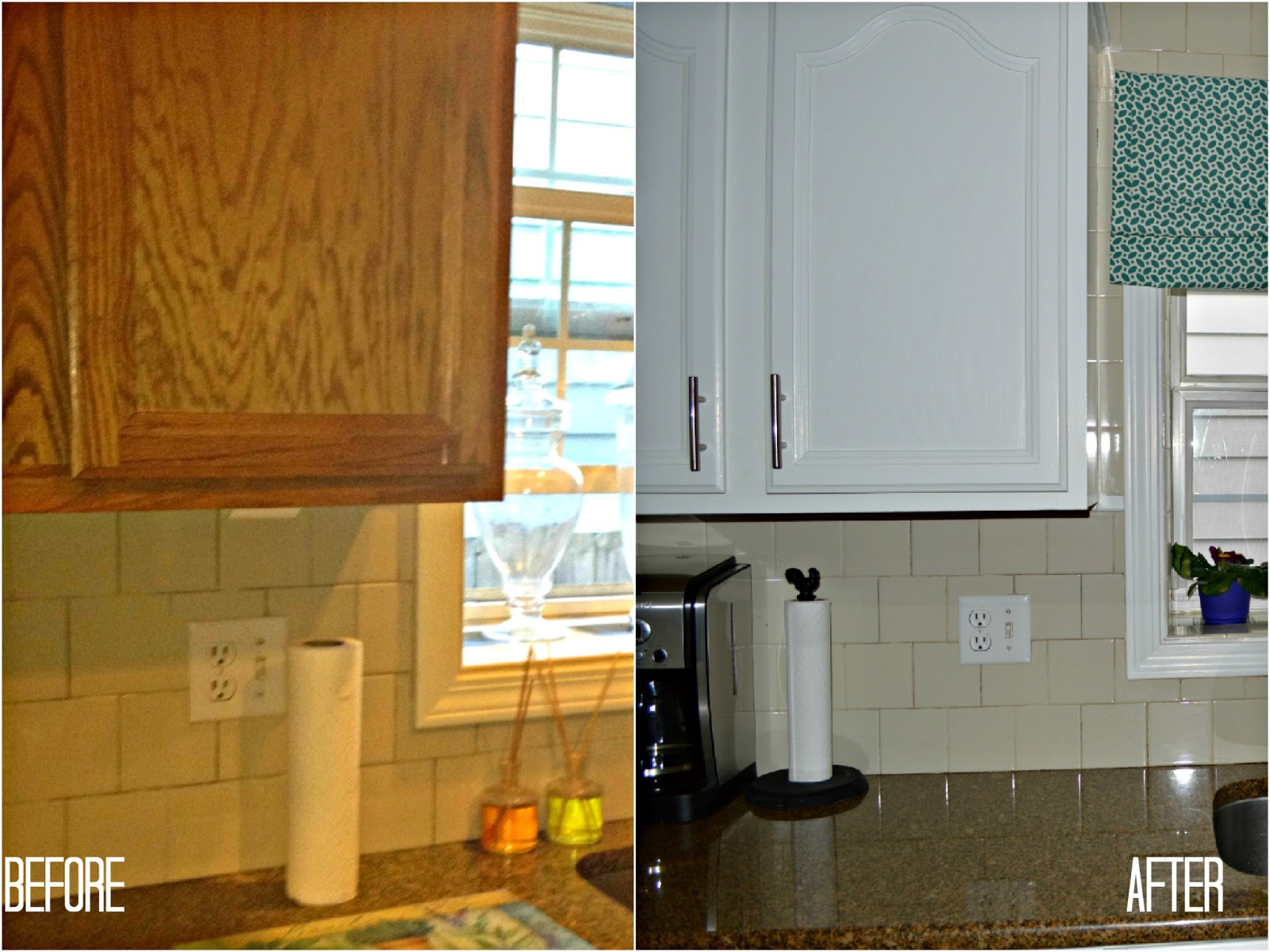Painting kitchen cabinets before and after car interior for Kitchen cabinets before and after