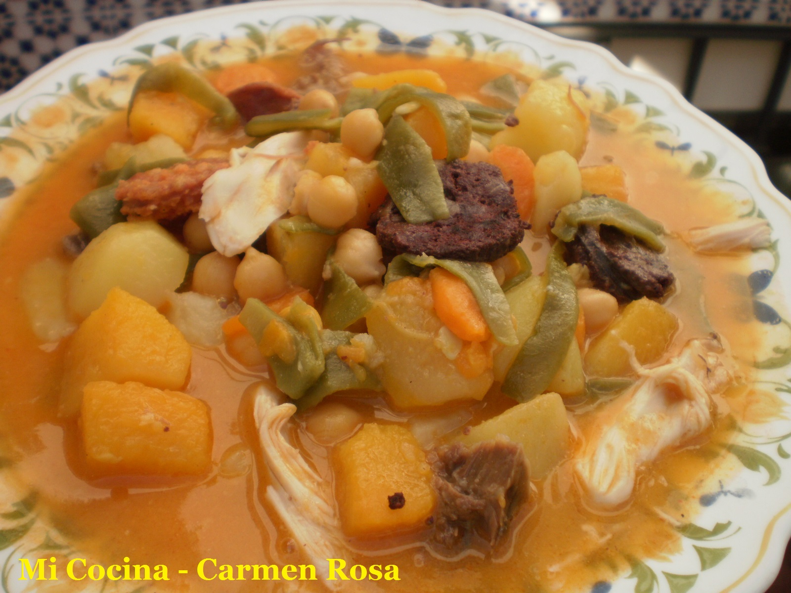 berza de calabaza papas y habichuelas verdes receta