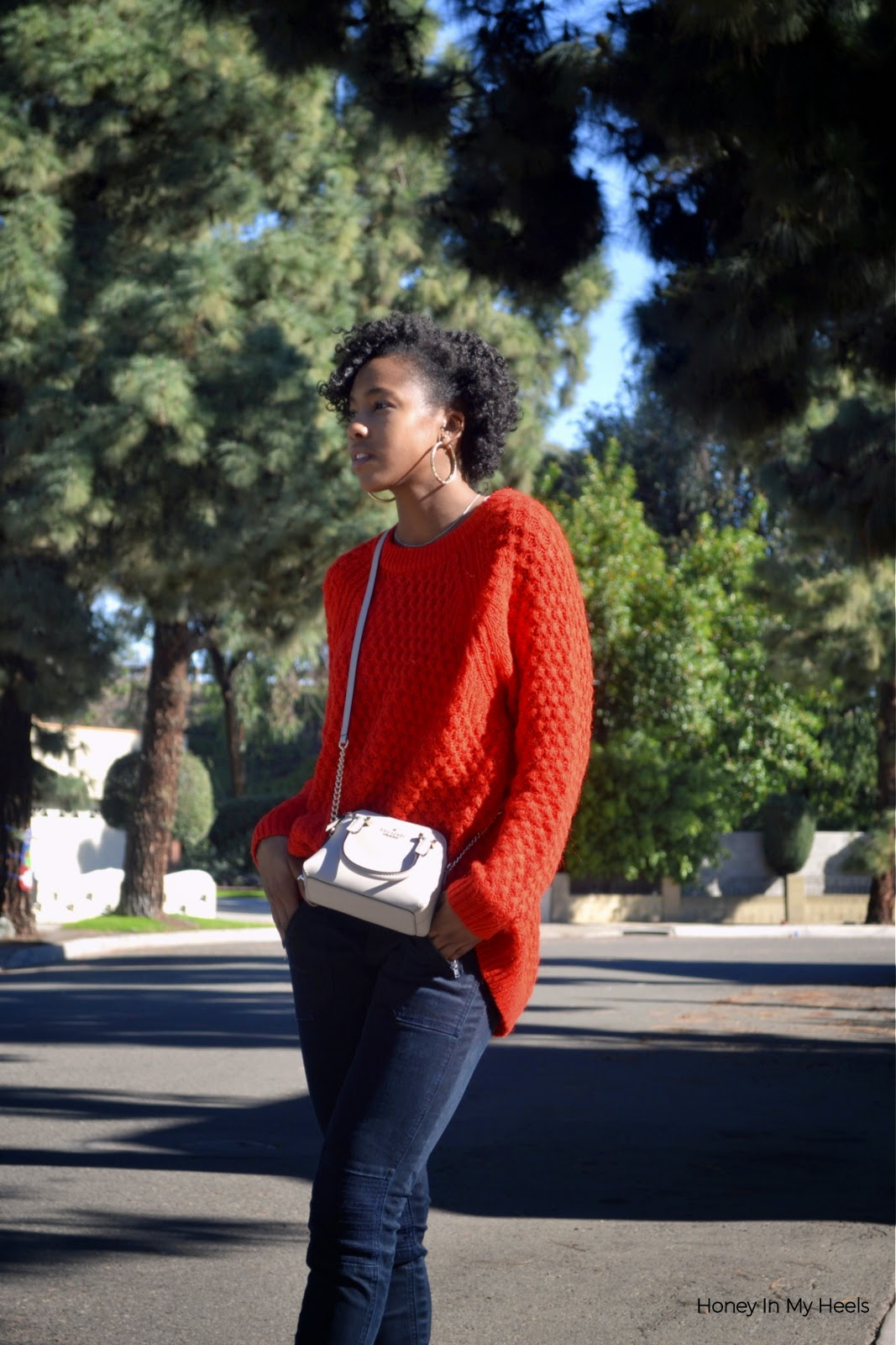 H&M chunky knit orange sweater Vigoss jeans Kate Spade Mini Maise