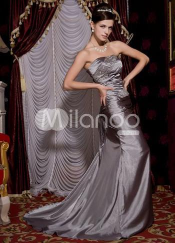 Élégant Argent tissés élastiques robe de soirée en satin perles