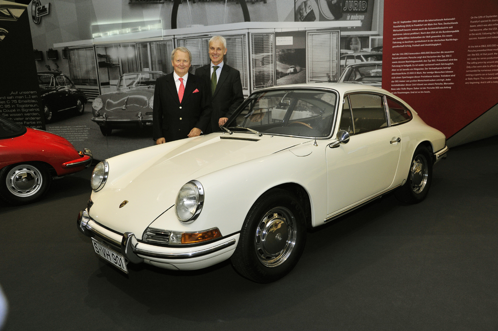"Dr. Wolfgang Porsche (left) and Matthias Müller opened the ""50 Years of 911"" anniversary exhibition"
