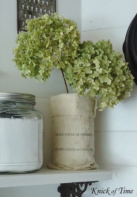 dried hydrangeas in farmhouse kitchen - www.KnickofTime.net