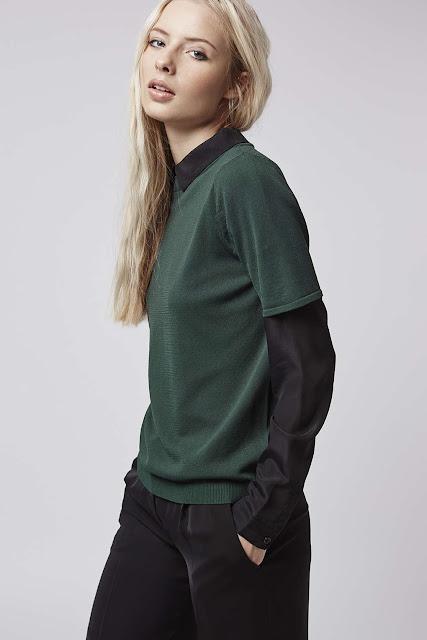 dark green top black sleeves and collar, topshop dark green top,