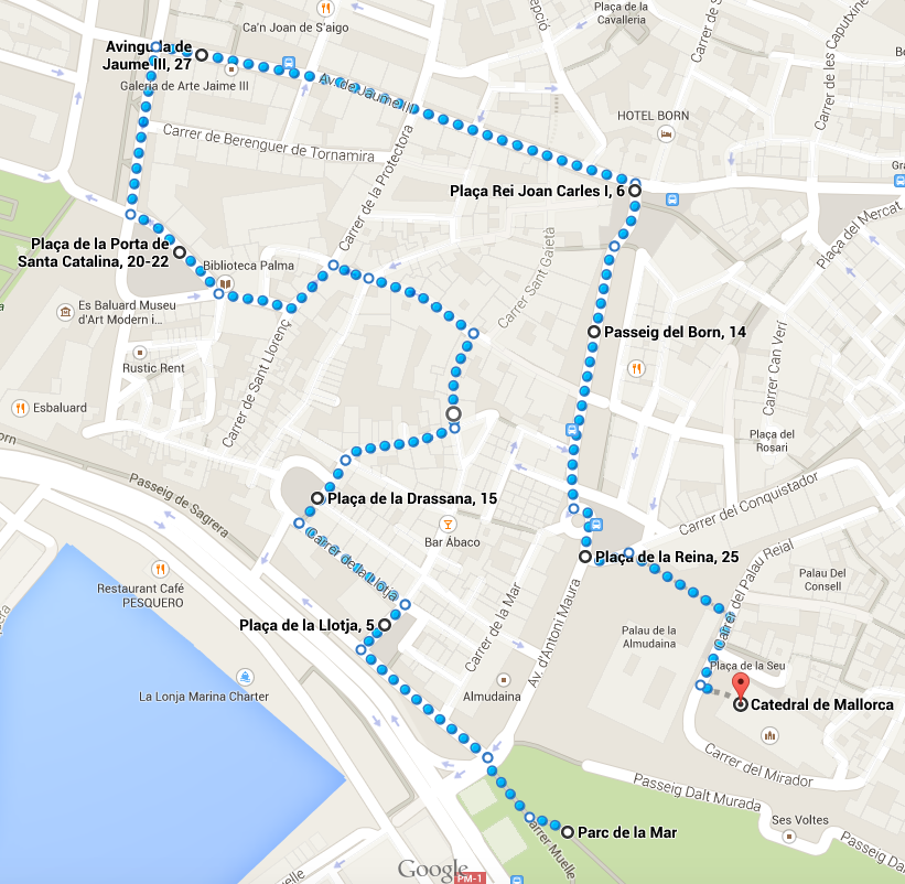 ruta palma la lonja-es baluard-catedral-almudaina
