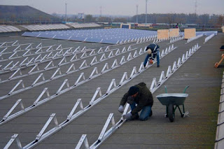 Solar Panels Structure on Flat Roof