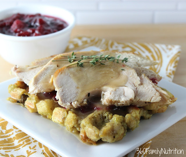 This Stuffing Waffle topped with turkey and cranberry sauce is a creative way to serve your Thanksgiving feast leftovers