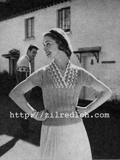 1950's Knitting - Aqua Waves Jumper