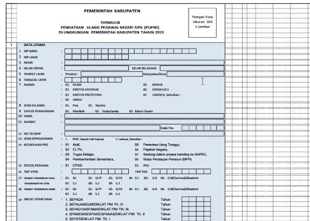 Download Formulir Pendataan Ulang Pegawai Negeri Sipil PUPNS 2015