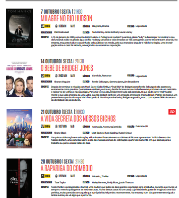 Cartaz de Cinema para Outubro, no Centro Cultural da Ilha Graciosa