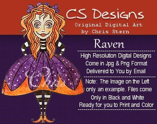 Raven Funky Halloween Digital Stamp