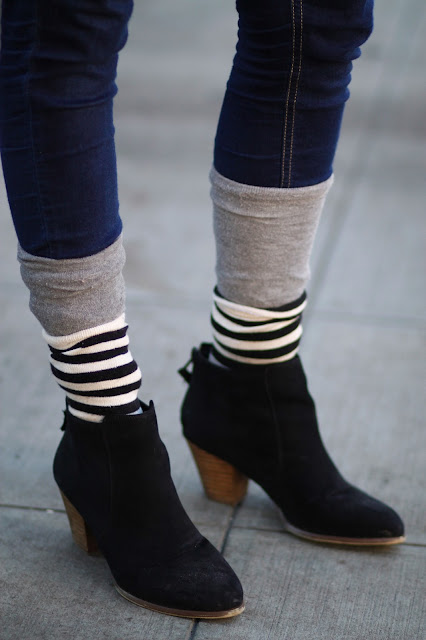 Natalie Meek suede ankle boots seattle street style fashion it's my darlin' striped socks