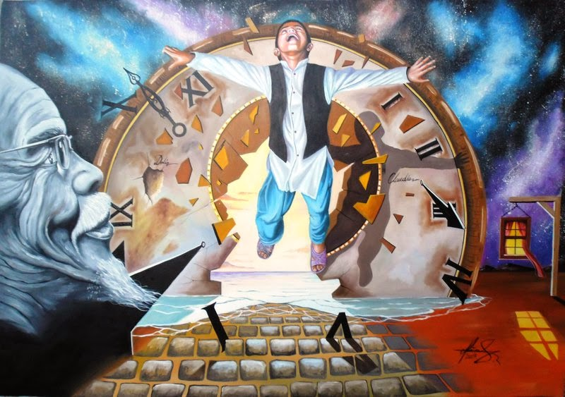 07-Escaping-Time-Raceanu-Mihai-Adrian-Surreal-Oil-Paintings-www-designstack-co