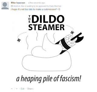 text: THE DILDO STEAMER [image desc: pile of poop with fasces made out of dildos sticking out] text: a heaping pile of fascism!