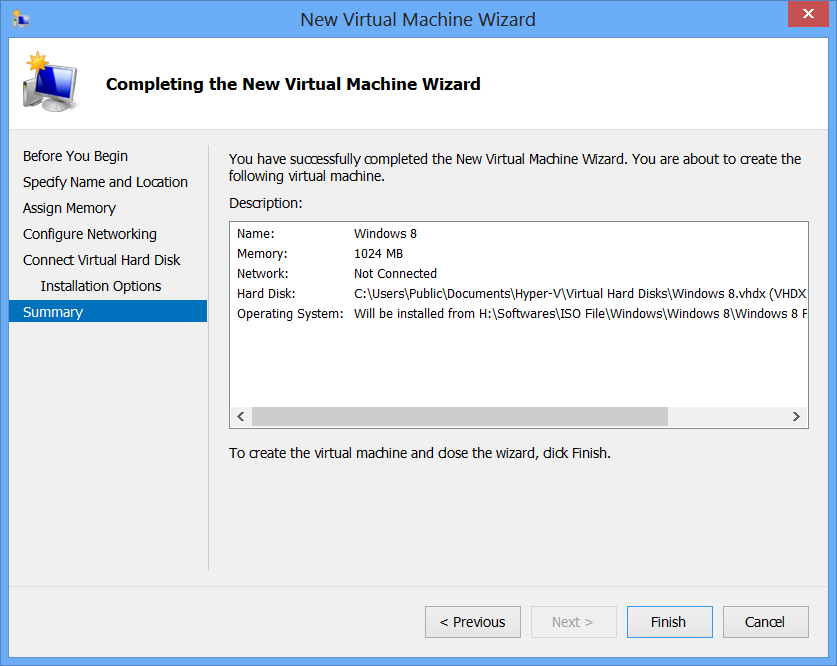 Hyper V : Virtual Machines di Windows 8