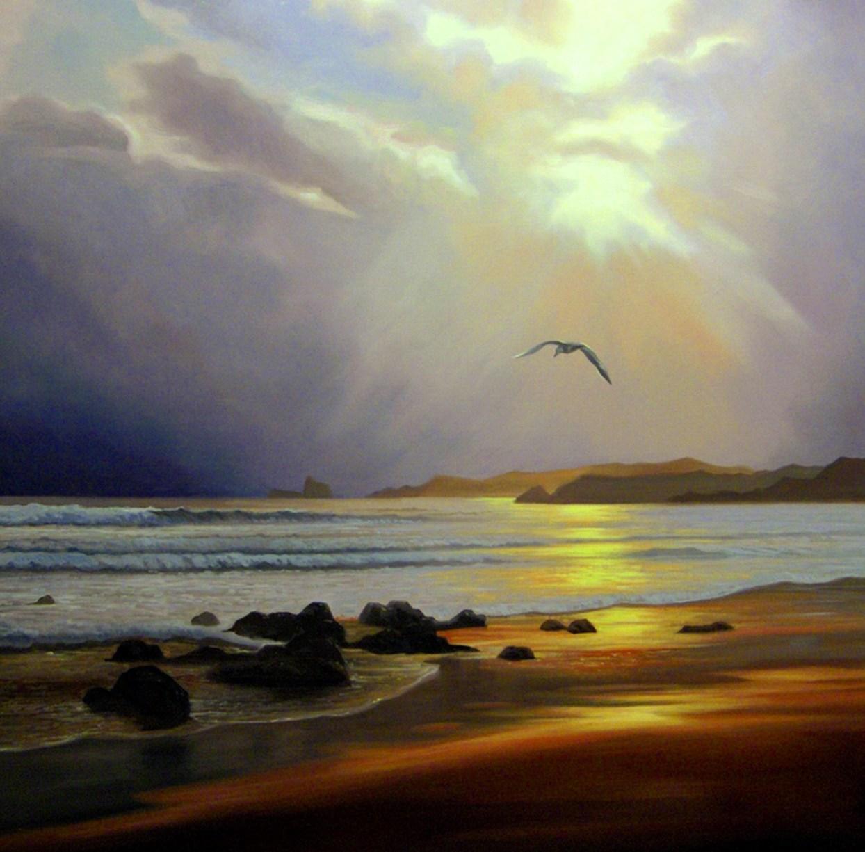 Pinturas cuadros lienzos paisajes realistas pintados al - Paisajes nevados para pintar ...