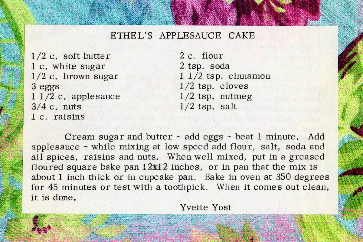 Ethel's Applesauce Cake (quick recipe)