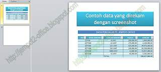 Screenshot data pada MS PowerPoint 2010
