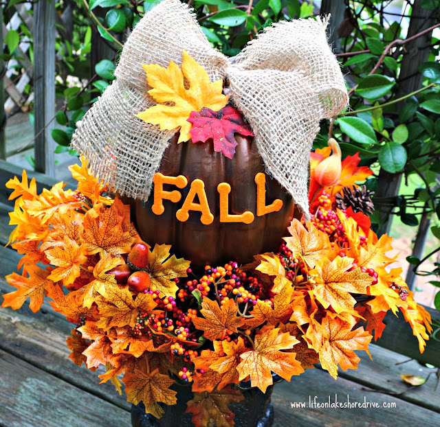 DIY Fall Decor Pumpkin Topiary Tutorial, Dollar Store Fall Crafts     Life on Lakeshore Drive