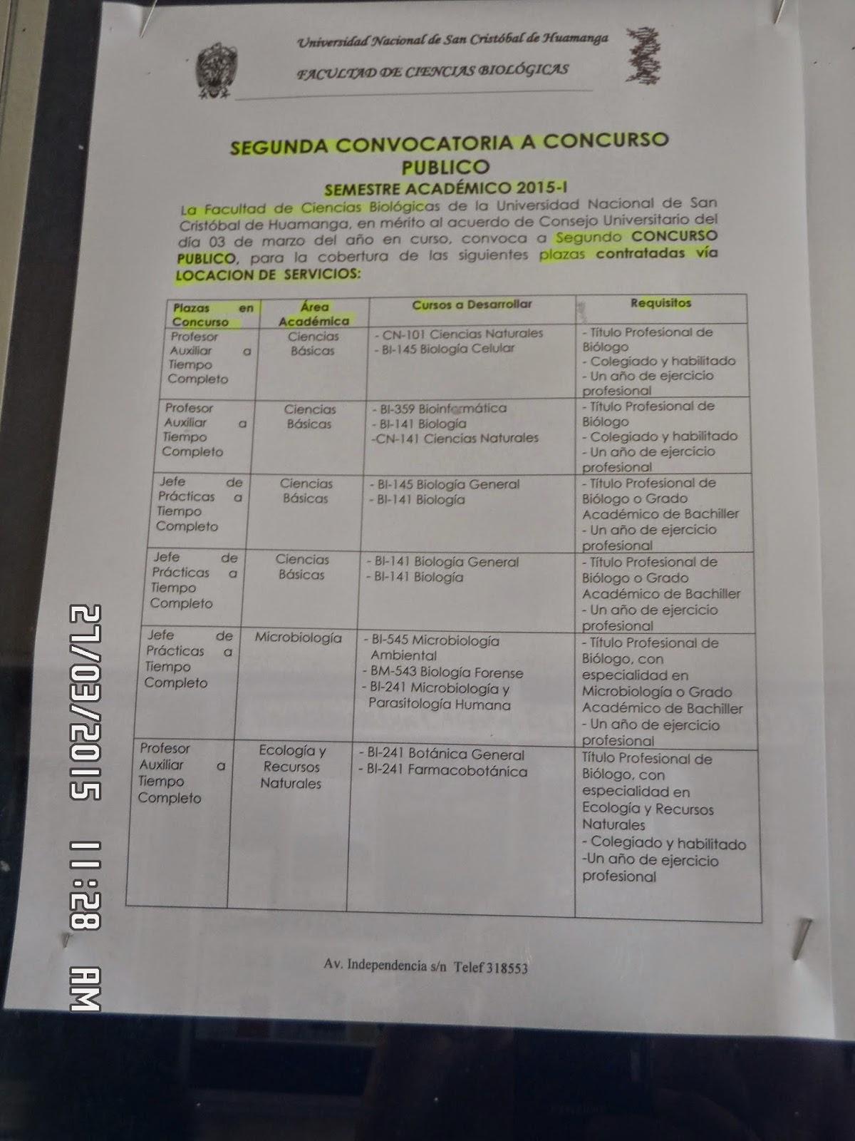 Perubi logos convocatoria fcb unsch 7 plazas docentes for Convocatoria para plazas docentes