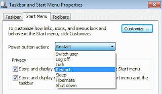 Taskbar and start menu properties