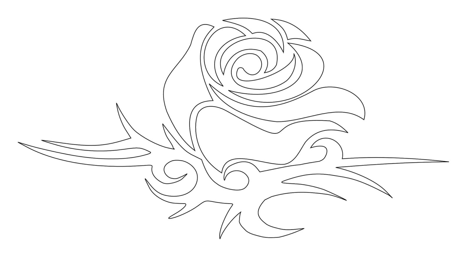 Rose bud tribal tattoo stencil