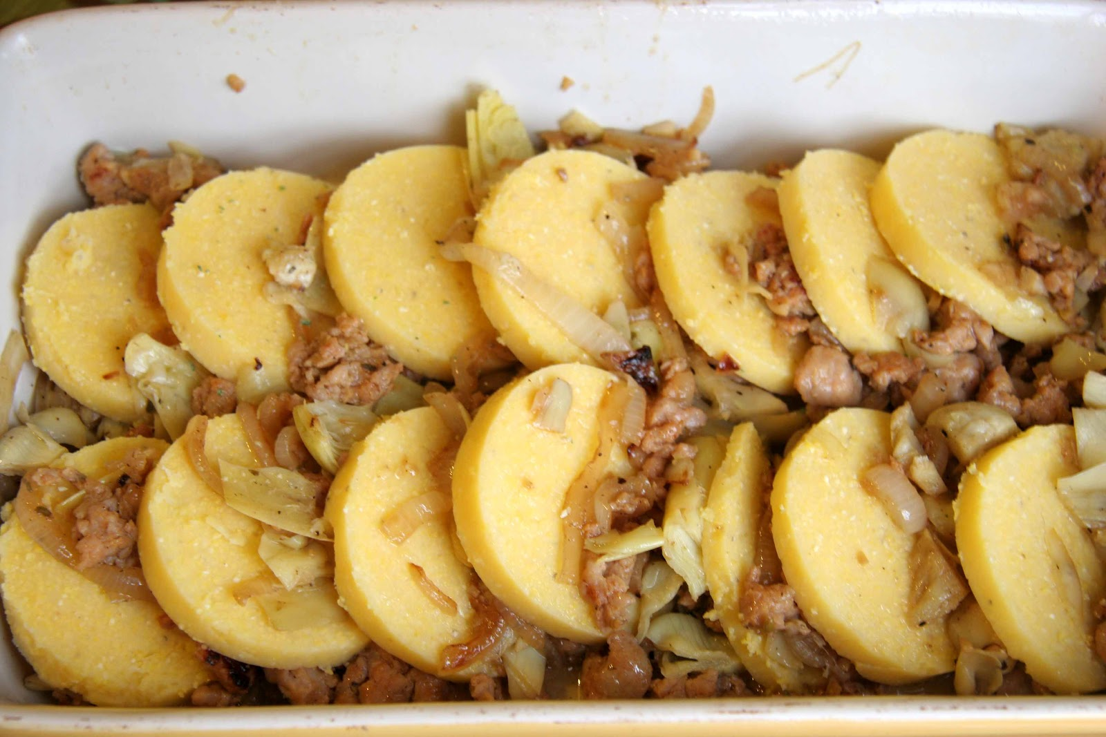 ... Who's Cookin' Now: Baked Polenta with sausage and artichoke hearts
