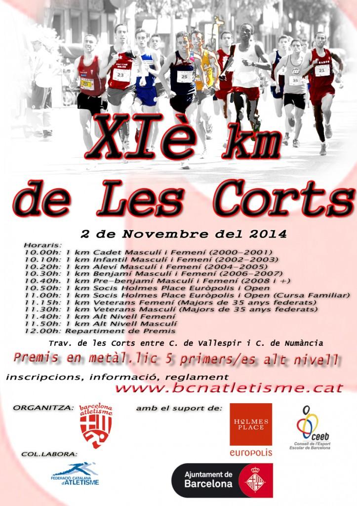 Cartel del XIè km de Les Corts [Imagen: www.bcnatletisme.cat]