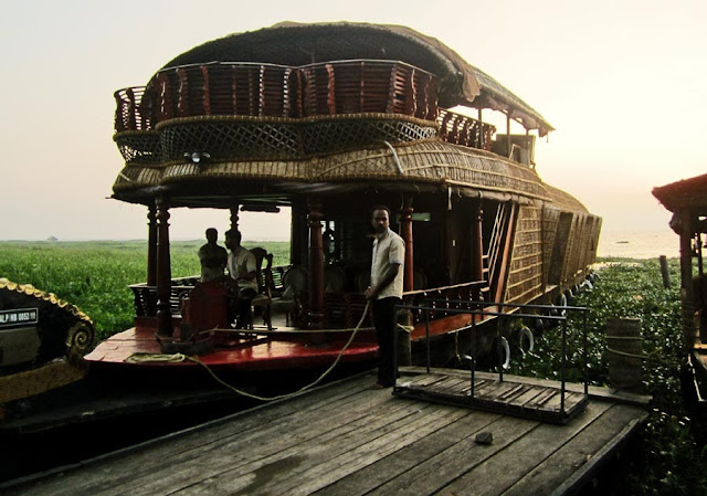 A houseboat parked in the Kerala backwaters