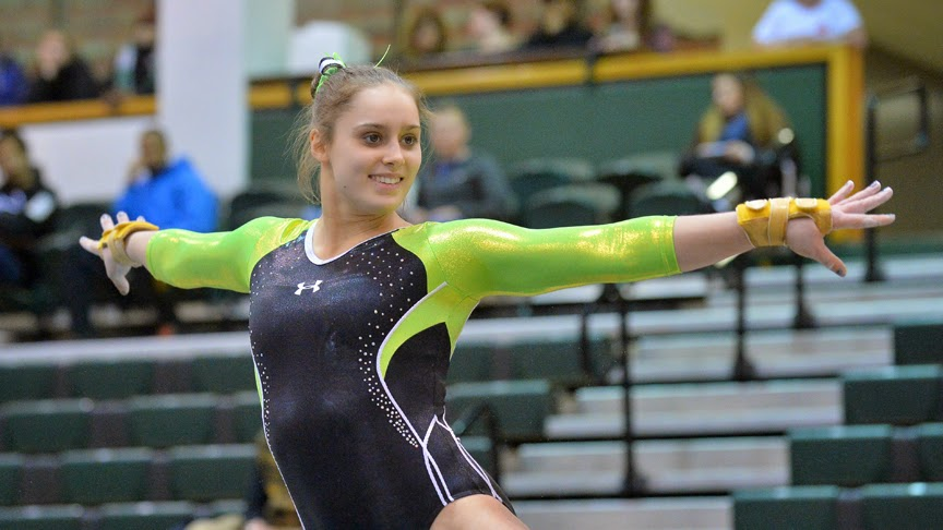 Marie-Sophie completes a routine at last season's home meet against UC-Davis. (Photo by Sam Wasson/UAA Athletics)