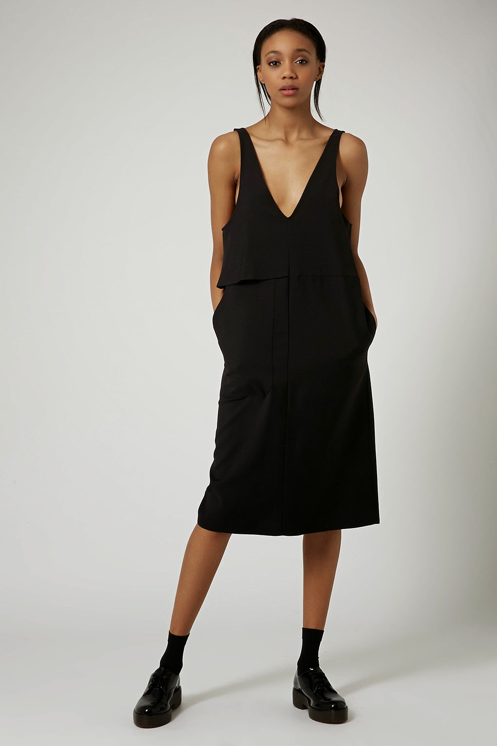 topshop boutique black  dress, v neck black dress 2015,