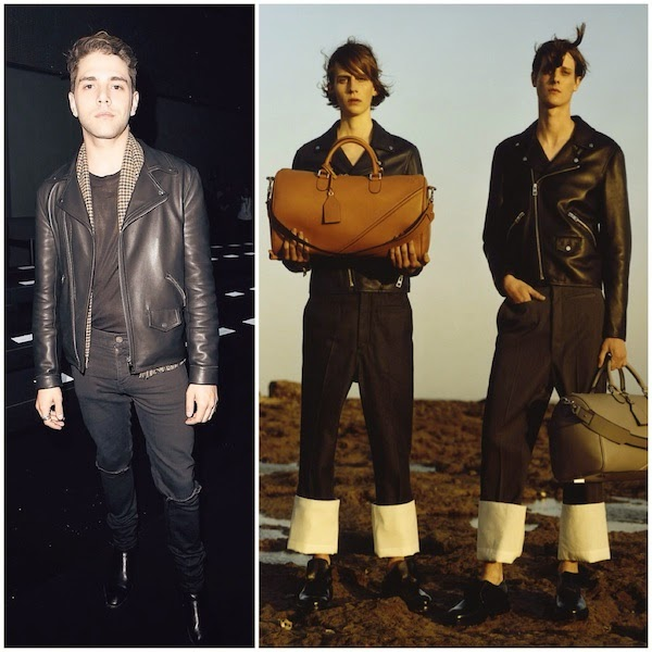 Xavier Dolan wears Loewe black leather biker jacket at Paris Fashion Week