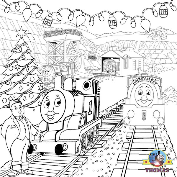 Winter landscape coloring pages for Santa train coloring page