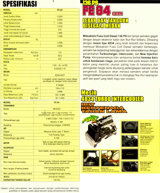 Spesifikasi Colt Diesel 136 ps FE 84