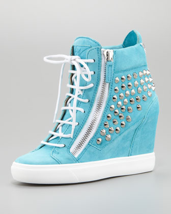 Studded Suede Wedge Sneaker