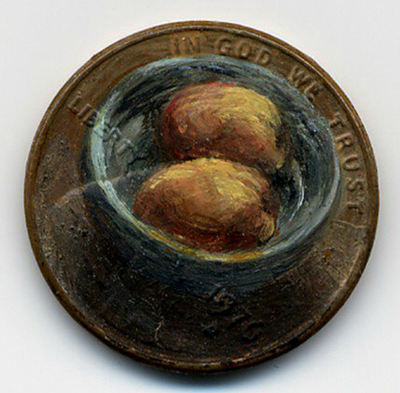 لوحات زيتية دقيقة ومدهشة على العملات المعدنية الصغيرة  Penny-paintings7-550x540