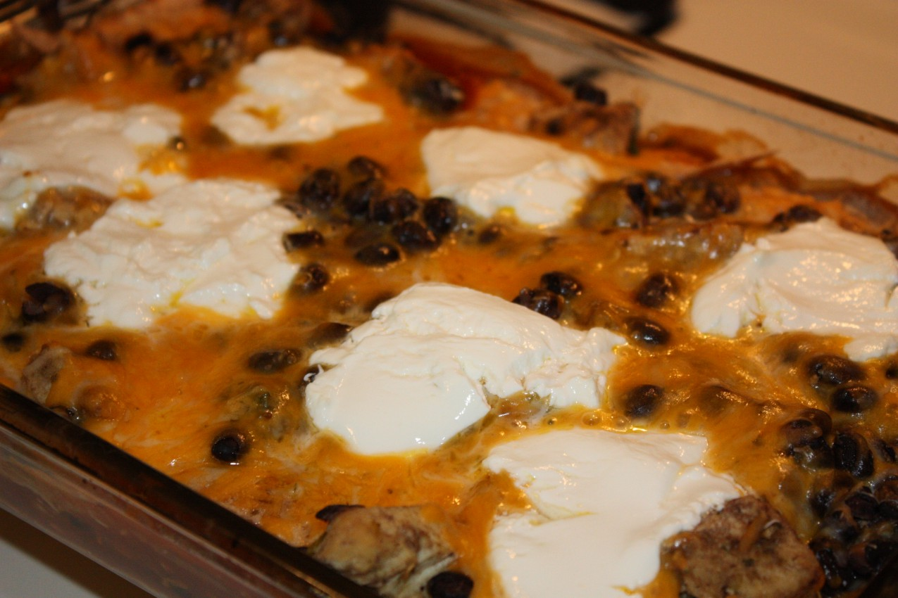... the peas, please: layered chicken and black bean enchilada casserole